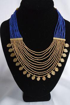 "Naga India Collar, ""tribal elegante"" Drapy Brass + Glass Beads- Muchos - poshjewelsworldwide"