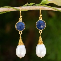 Gold plated cultured pearl & sapphire dangle earrings, 'Midnight Moon'