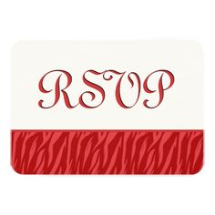 RED and WHITE Zebra Print RSVP Template V6B4 Personalized Announcements