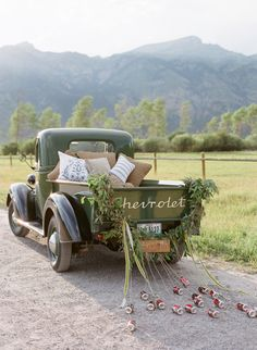jackson hole getaway car, old green chevrolet. pic by carrie patterson Antique Trucks, Vintage Trucks, Wedding Exits, Dream Wedding, Wedding Cars, Wedding Locations, Wedding Getaway Car, Destination Wedding, Wedding Car Decorations