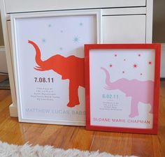 elephant birth print