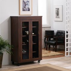 Furniture of America Layson Mobile Vintage Walnut Industrial Cabinet Shoe Cabinet, Cabinet Doors, Tall Cabinet Storage, Locker Storage, Media Storage, Industrial Storage Cabinets, Deep Shelves, Cabinet Styles, Wood Veneer