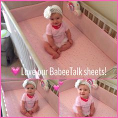 My niece is a happy camper with her Babee Talk bed sheets! All Things Cute, Happy Baby, Happy Campers, Parents, Product Launch, Nursery Crib, Baby Bedding, Bed Sheets, Kids