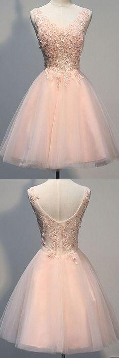 homecoming dress,short homecoming dress,pink homecoming dress,v-neck homecoming…