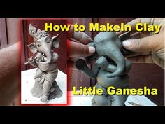 How to Make Little Ganesha with Flute- Easy to make Clay Ganesha, Ganesha Art, Ganesh Idol, Shri Ganesh, Ganesha Pictures, Ganesh Images, Ganesha Sketch, Eco Friendly Ganesha, Happy Ganesh Chaturthi Images