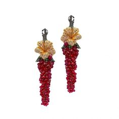 Earrings from Fleur d'Eté collection in gold 18k with white and brown diamonds, ruby and tsavorite by MVee