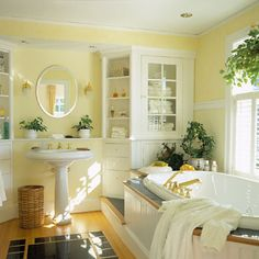 soft yellows with white: pretty bathroom colors | the ornament of