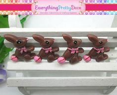 5 Pieces Chocolate Easter Bunny Candy with Pink Bow and Tail Resin Kawaii Decoden Cabochon (EPD1197)