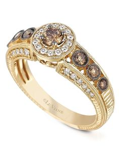Le Vian's engagement ring set in 14k gold with round-cut white and chocolate,