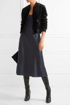 Black velvet Zip fastening through front 80% viscose, 20% elastane; trim: 87% wool, 11% nylon, 2% elastane; lining1: 96% polyester, 4% elastane; lining2: 82% polyester, 18% polypropylene Dry clean Imported