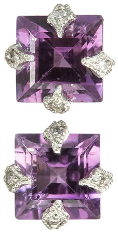 Cathy Waterman Diamond & Amethyst Stud Earrings.