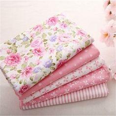 Hot 40 * 50 CM 5 unids Sweet Pink impreso de tela de algodón Telas paquete de costura del remiendo DIY Material del juguete del bebé que acolcha de cama Tecido