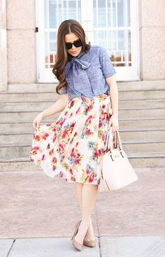 floral skirt, secretary blouse.