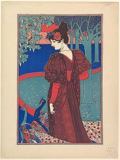 Louis John Rhead  (American, born England, 1857–1926). Woman with Peacocks. The Metropolitan Museum of Art, New York. The Elisha Whittelsey Collection, The Elisha Whittelsey Fund, 1971 (1971.564.204) #peacock