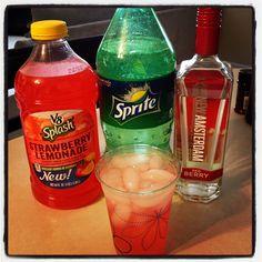 Pink starburst Sprite Strawberry lemonade Berry vodka