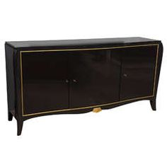 French Late Art Deco Black Lacquer and Parcel-Gilt Credenza, Andre Arbus