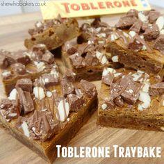 Toblerone Traybake - She Who Bakes Tray Bake Recipes, Cookie Recipes, Dessert Recipes, Desserts, Baking Recipes Uk, Fudge Recipes, Baking Ideas, Toblerone Cake, Janes Patisserie