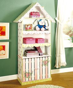 Pink & White Flower House Cabinet Bookcase