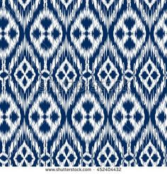 Tribal Art White Colors Seamless Pattern Ikat Ogee In Traditional Classic Blue And Boho Style