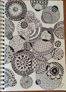 ▪■▪■ zentangles and doodle art. Dibujos Zentangle Art, Zentangle Drawings, Doodles Zentangles, Doodle Designs, Doodle Patterns, Zentangle Patterns, Zantangle Art, Zen Art, Tangle Doodle