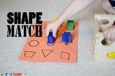 Build a simple shape match activity for your toddler using their shape toys. Practice identifying the face on a shape with your tot! Preschool Programs, Toddler Activities, Preschool Activities, Educational Activities, Matching Games For Toddlers, Shapes For Toddlers, Tracing Shapes, Shape Games, Learning Shapes