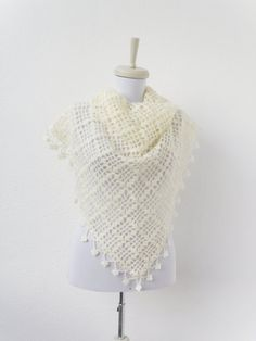 triangular creamcolored mohair shawl by Bestknttng on Etsy, $65.00