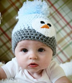 Baby Hat with Snowman Face Gray and Ice Blue by OurCozyCottage, $14.99