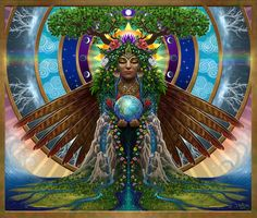 Gaia Sacred System Art Print by Cristina McAllister. All prints are professionally printed, packaged, and shipped within 3 - 4 business days. Gaia Goddess, Earth Goddess, Erde Tattoo, Systems Art, Thing 1, Sacred Art, Mother Earth, All Art, Mother Nature