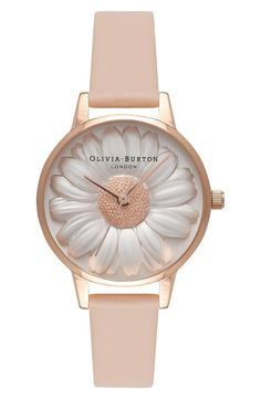 9efe8f260a2 Main Image - Olivia Burton Flower Show Leather Strap Watch