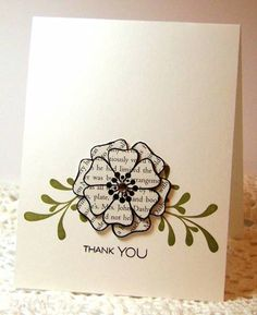 handmade Thank You card by *Kathleen* ... flower paper pieced from book paper ... clean and simple design ... Verve stamps