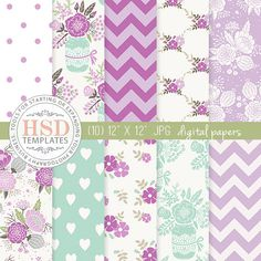 SALE Purple Mint Shabby Chic Digital Paper - Floral Digital Scrapbook Paper - Digital Backgrounds - Chevron Digital Paper - Mason Jar DP131