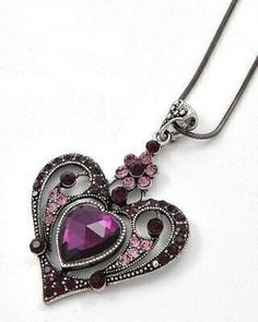 Victorian Gothic Style Purple Crystal Heart Necklace- She absolutely loves Gothic Jewelry, Vintage Jewelry, Victorian Jewelry, Purple Jewelry, Purple Necklace, Victorian Gothic, Gothic Lolita, Gothic Girls, Victorian Dresses