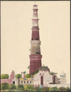 From the Asian and African Studies blog post 'Disentangling Robert Smith'. Image: The Qutb Minar with Robert Smith's cupola, c. 1830