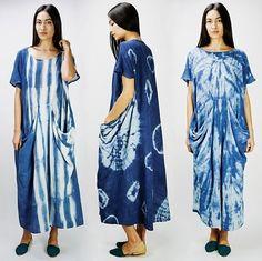 Prism of Threads x Lookout & Wonderland Textiles, Tie Dye Fashion, Shibori Tie Dye, Indigo Dye, How To Dye Fabric, Tye Dye, Bunt, Fashion Dresses, Style Inspiration