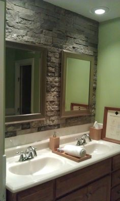 airstone stone accent wall in bathroom. Lowes had this demo the accent wall would look good behind a sunken jetted tub and white boards behind vaniety Brown Accent Wall, Stone Accent Walls, Brown Bathroom, Grey Bathrooms, Wallpaper Accent Wall Bathroom, Bedroom Wallpaper, Wall Wallpaper, Bathroom Wall, Office Bathroom