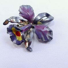 Antique vintage 1930's pot metal orchid enameled by jewelry715, $10.00