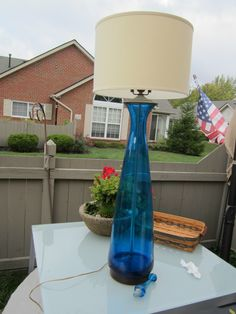 BLENKO LAMP - LARGE - BLUE - ORIGINAL 41 INCHES TALL