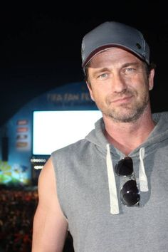 Gerard Butler, Hollywood star, attends the match between Argentina and Holland at Fan Fest