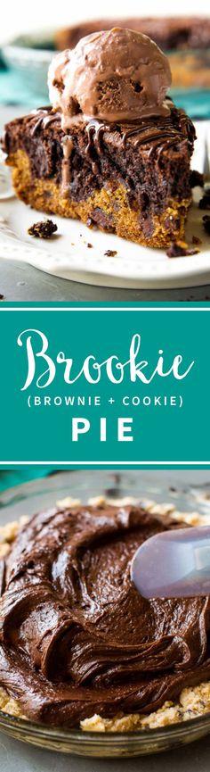 Chocolate chip pie and brownie pie make this towering and delicious brookie pie!! Top with chocolate ice cream! Recipe on sallysbakingaddiction.com