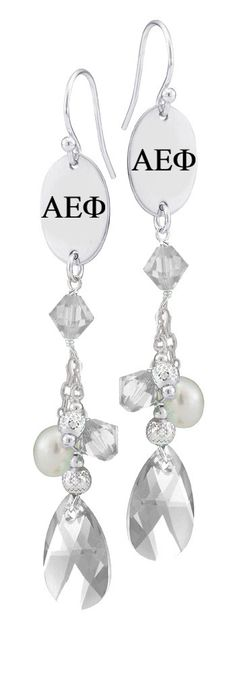 Alpha Epsilon Phi Greek Letters Clear Crystal and Freshwater Pearl Earrings