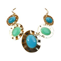 All the Rage Oval Statement Necklace from LittleBlackBag.com :: Oval :: Statement :: Necklace :: Blue :: Green :: Hammered :: Gold