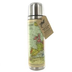 Vintage Map Flask by Wild & Wolf Travel Box, Old Luggage, World Map Design, European Map, Flask Water Bottle, Water Bottles, Makeup Vanity Mirror, Bottle Garden, World Maps