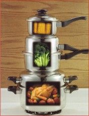"""You can """"stack cook"""" an entire meal using only one burner with high quality """"waterless and greaseless"""" Cookware"""
