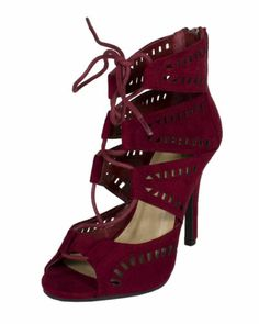 Caper Peep Toe Lace Up Cut Out Gladiator High Heels Dark Burgundy Faux Suede   eBay
