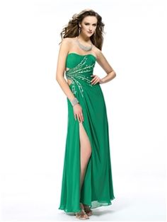 Sexy Sweetheart Sequins Beading Split-Front Long Evening Dress