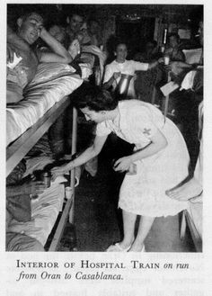 A hospital train that ran between Oran and Casablanca during Operation Torch, Sarah would have received patients from this group when they arrived in Casablanca. Operation Torch, Global Conflict, Postwar, Military Spouse, Historical Images, France, Running Training, Medical Care, Casablanca