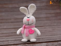 White bunny, knitted rabbit, hand knit bunny, heart, hand knit toy - Philip the Rabbit