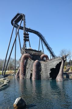 The all-new Krake dive coaster at Heide Park, Germany