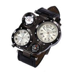 Fashion Stainless Steel Leather Men's Military Sport Analog Quartz Wrist Watch #UnbrandedGeneric