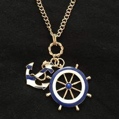 Golden Anchor and Wheel Nautical Necklace Chic and beautiful! Jewelry Necklaces